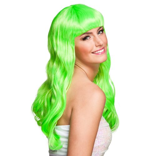 Pruik Lang met Pony Chique Groen