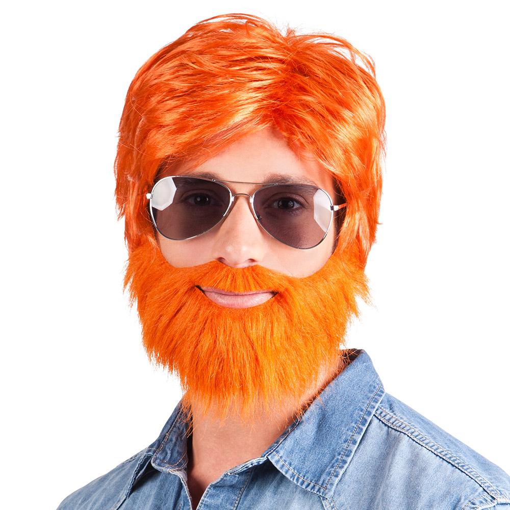 Pruik Dude met Baard Oranje