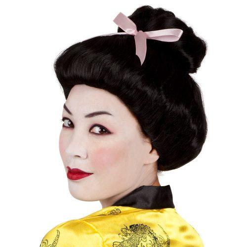 Pruik Geisha Zwart met Roze Strik