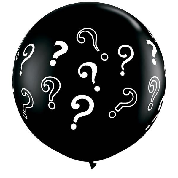 Reuze ballon 90cm Zwart + ?-Vraagteken