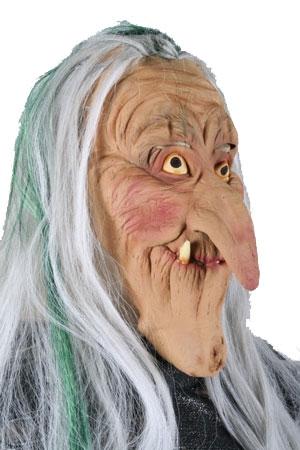 Rubber Masker Heks Grijs/Groen Haar