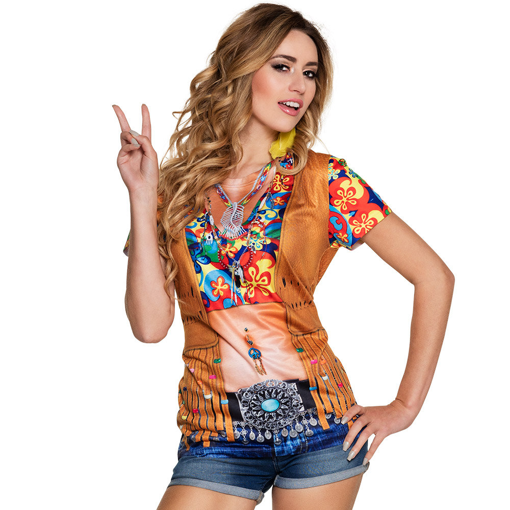 Shirt Fotoprint Flower Power Dames