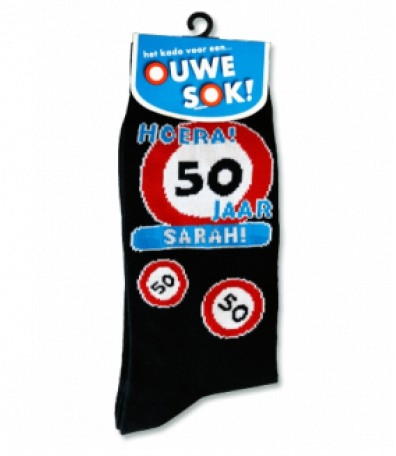 Sokken 08-Verkeersbord 50 jaar Sarah