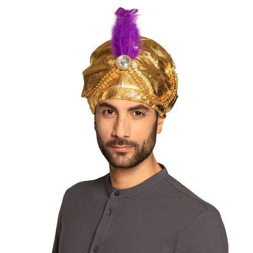 Sultan Hoed Goud met Kralen en Veer