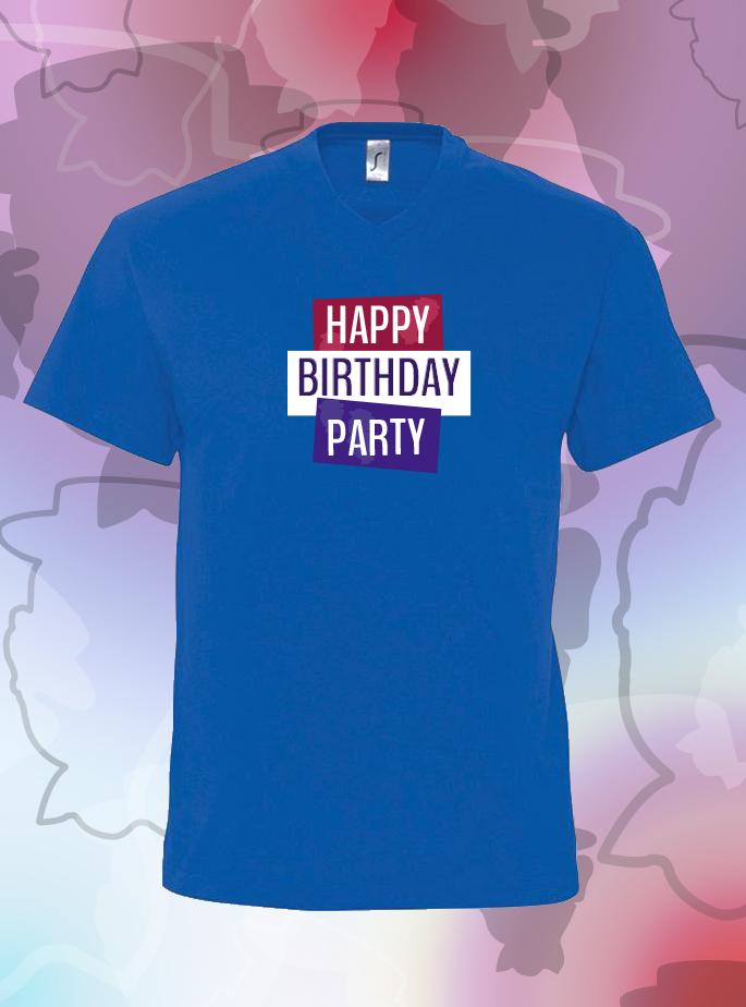 """T-Shirt """"Happy Birthday Party"""" Blauw Heren"""