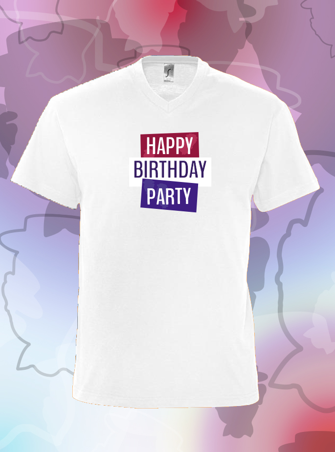 "T-Shirt ""Happy Birthday Party"" Wit Heren"