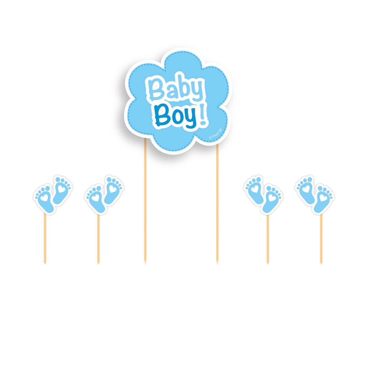 Taart Decoratie Set Baby Boy 5stuks