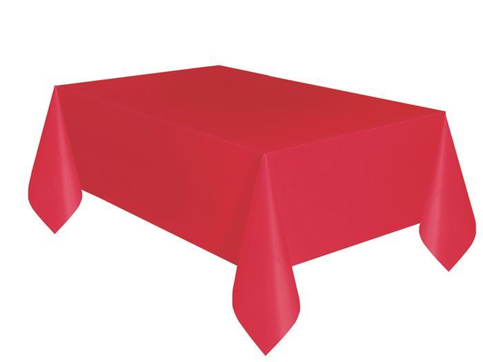 Tafelkleed Plastic Uni Rood 137x274cm