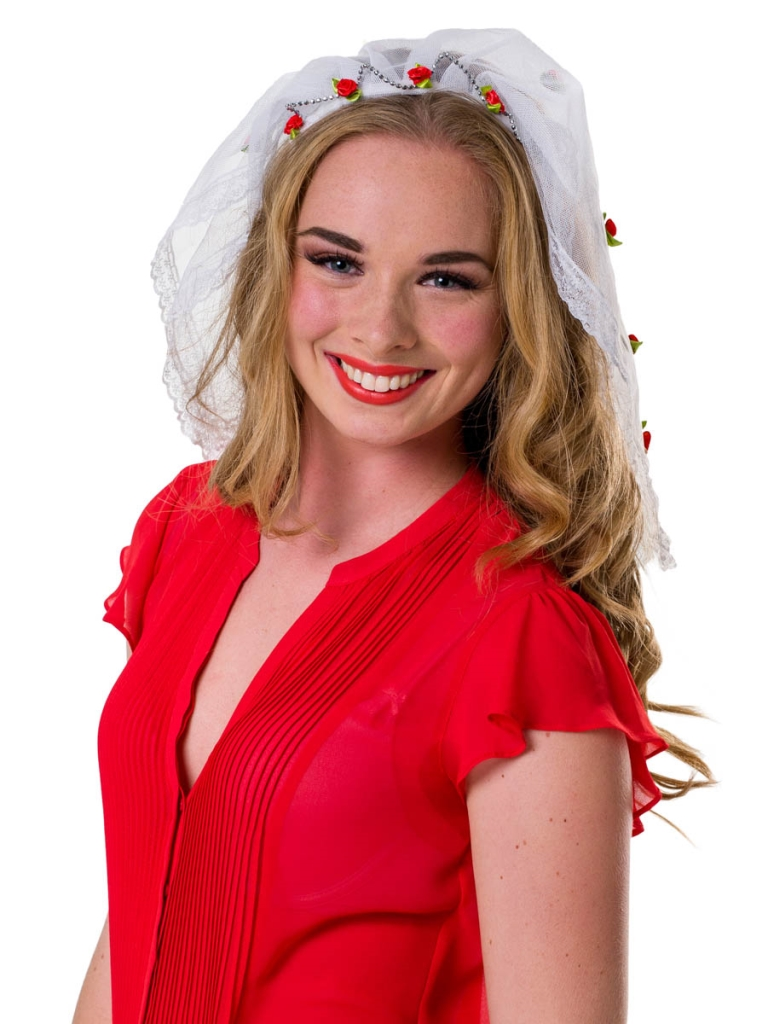 Tiara Bruid met Rode Roosjes en Sluier