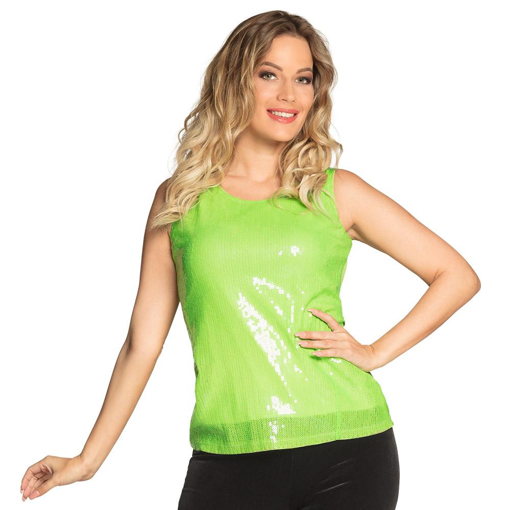 Top Sequins met Pailletten Lime Groen Dames