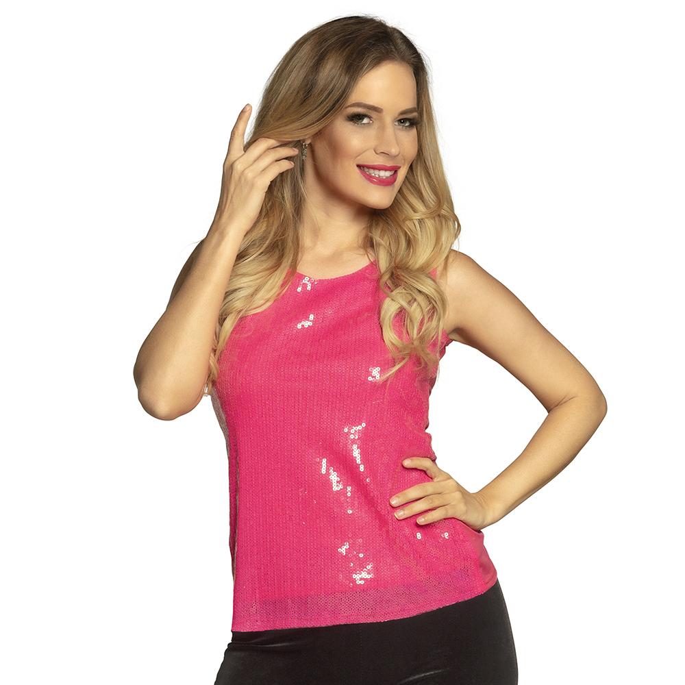 Top Sequins met Pailletten Roze Dames