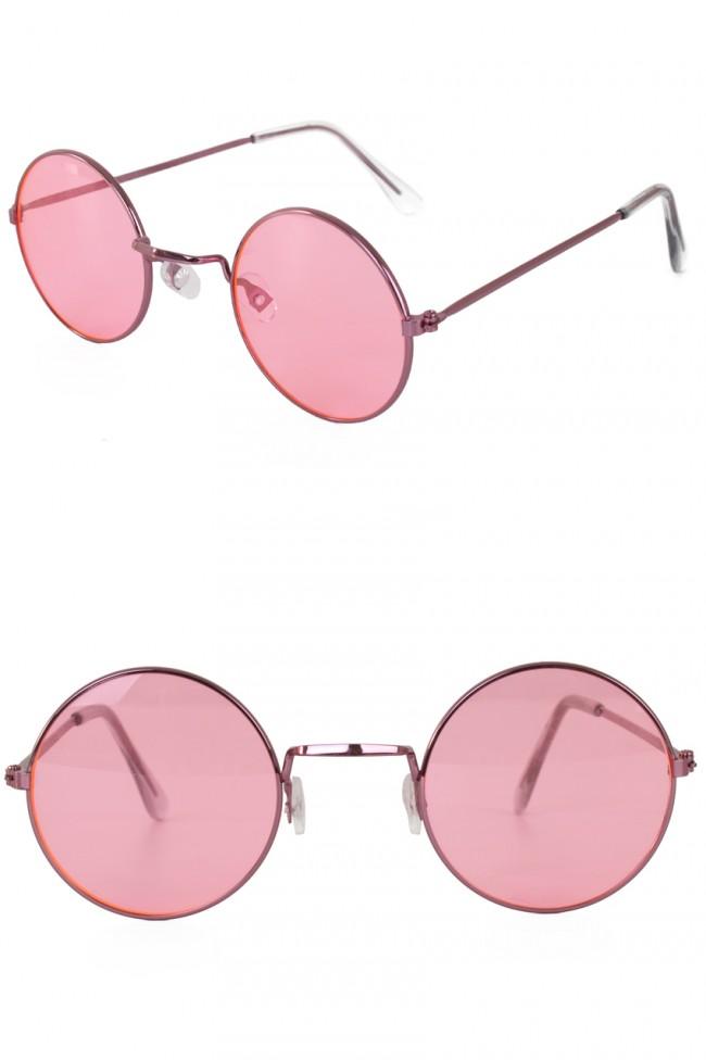 Hippie/Uilebril Roze Glas