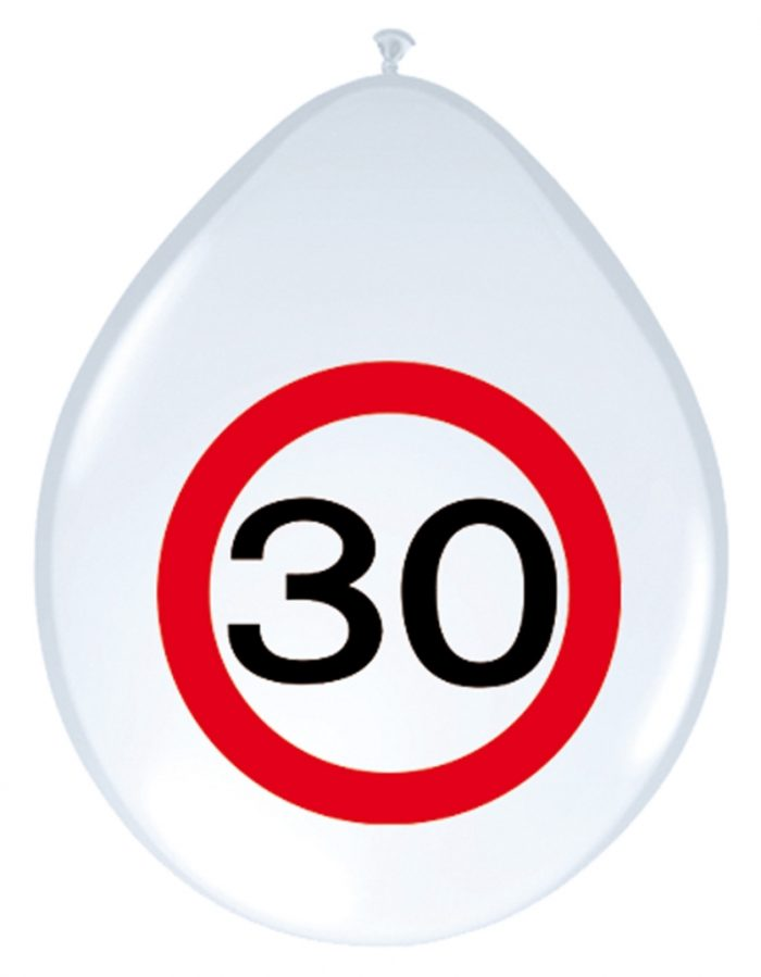 8st Verkeersbord ballon 30 jaar 12''