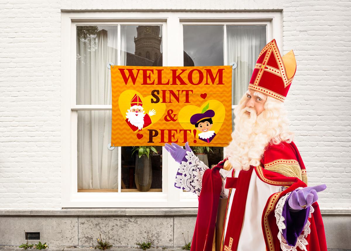 Vlag Welkom Sint & Piet 90x60cm