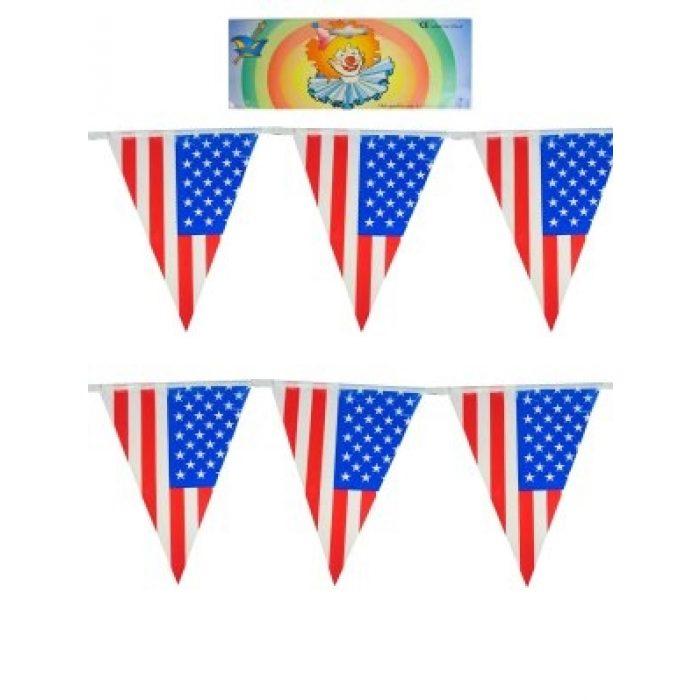 Vlaggenlijn Amerika/U.S.A. Plastic 10mtr