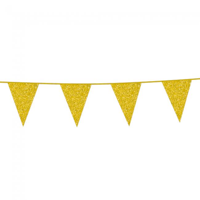 Vlaggenlijn Glitter Dubbelzijdig Goud 6m