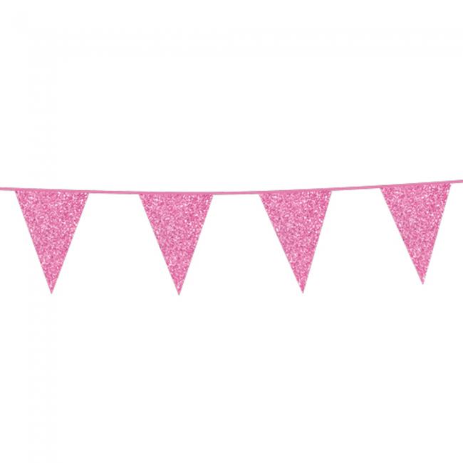 Vlaggenlijn Glitter Dubbelzijdig Licht Roze 6m