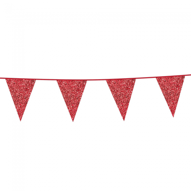 Vlaggenlijn Glitter Dubbelzijdig Rood 6m