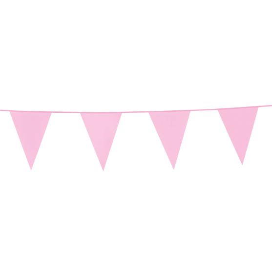 10m Vlaggenlijn Uni Licht Roze