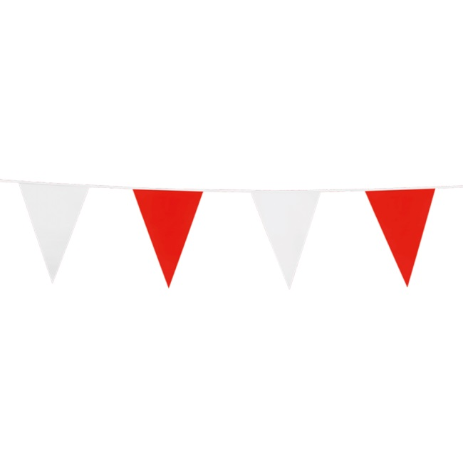 10m Vlaggenlijn Uni Rood/Wit