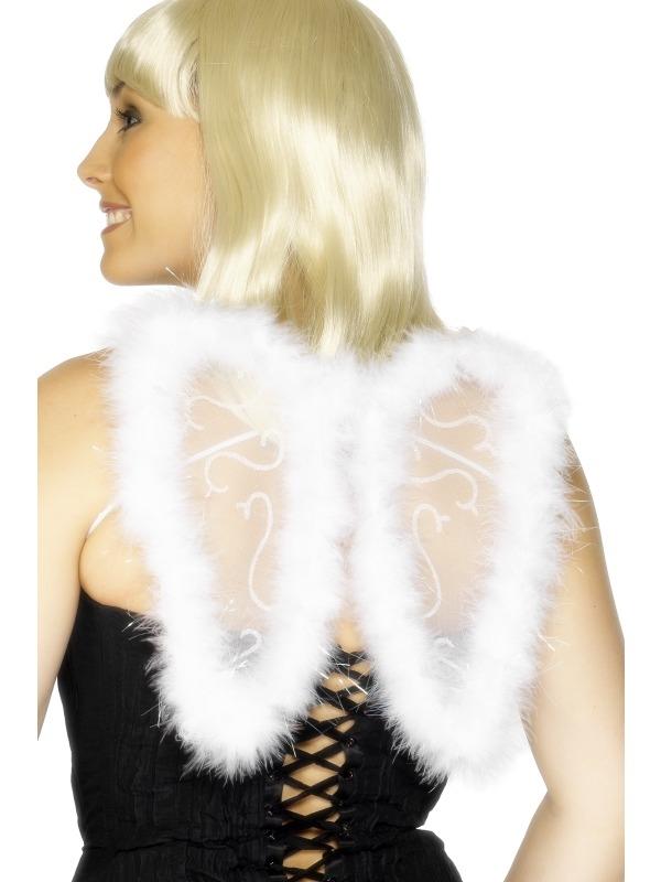 Vleugels Wit Mini met Marabou