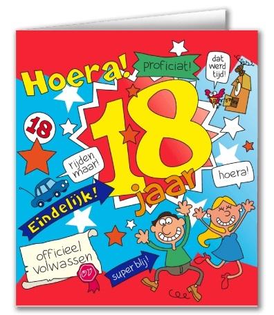 Wenskaart 18-Cartoon 18 jaar