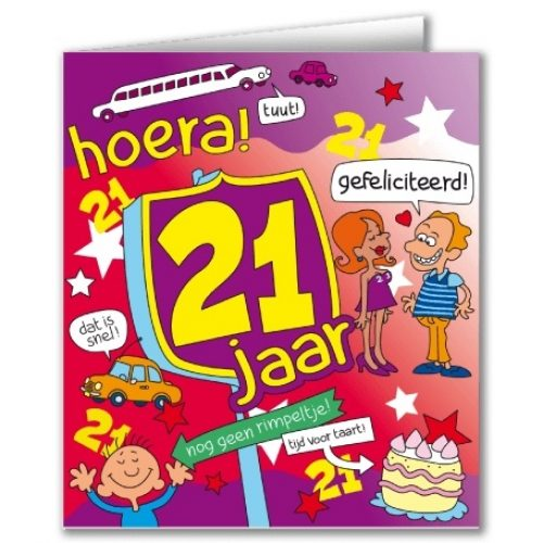 Wenskaart 19-Cartoon 21 jaar