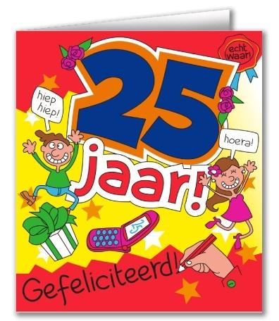 Wenskaart 20-Cartoon 25 jaar