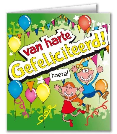 Wenskaart 44-Cartoon Gefeliciteerd