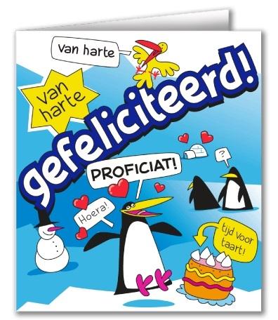 Wenskaart 31-Cartoon Gefeliciteerd