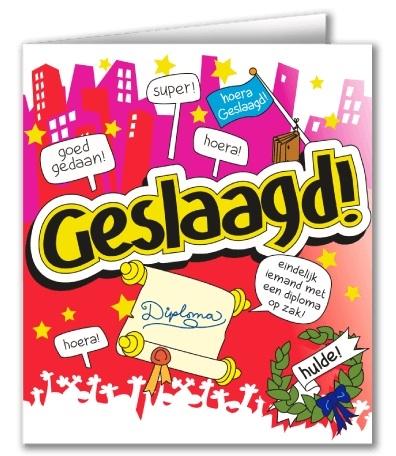 Wenskaart 48-Cartoon Geslaagd