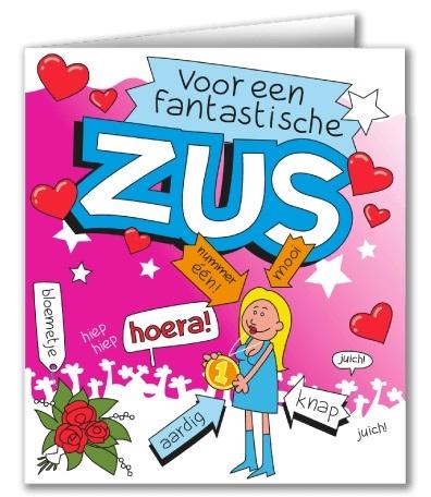 Wenskaart 37-Cartoon Zus