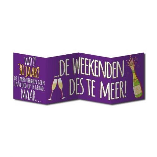 Wenskaart Surprise 30 Jaar Weekend