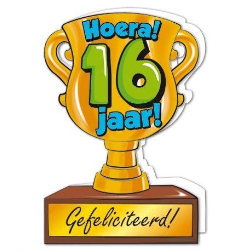Wenskaart 16-Trofee 16 jaar
