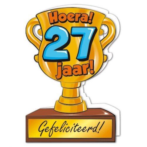 Wenskaart 27-Trofee 27 jaar