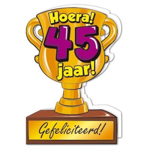 Wenskaart 45-Trofee 45 jaar