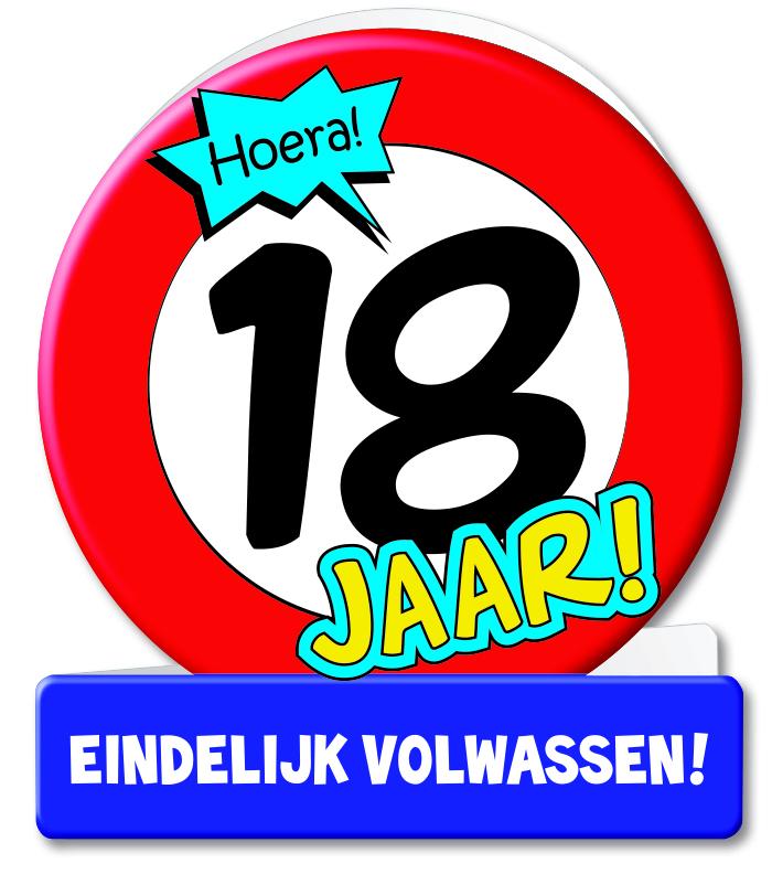 Wenskaart 02-Verkeersbord 18 jaar