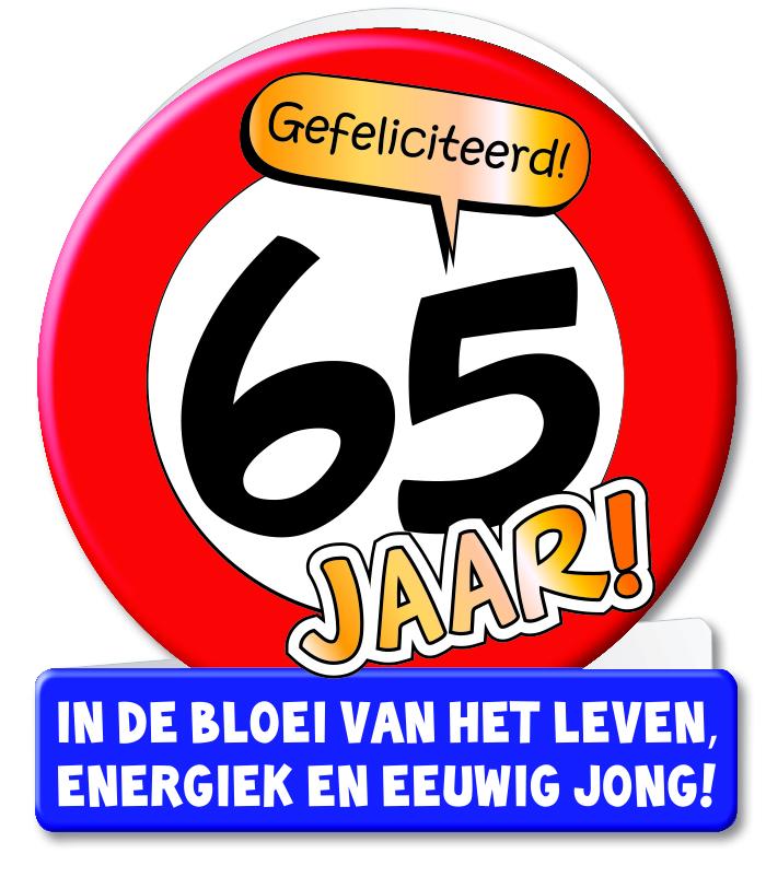 Wenskaart 12-Verkeersbord 65 jaar