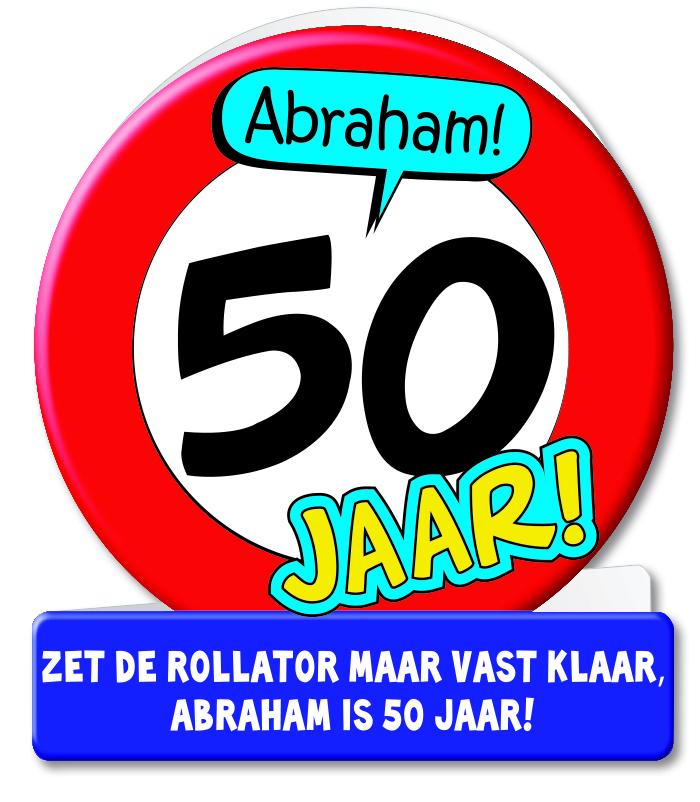 Wenskaart 09-Verkeersbord Abraham