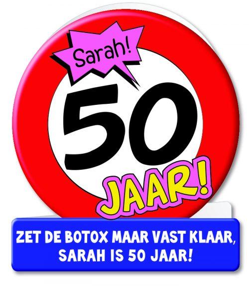 Wenskaart 10-Verkeersbord Sarah