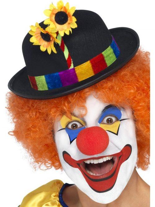 Zwarte Clowns Bolhoed met Bloem