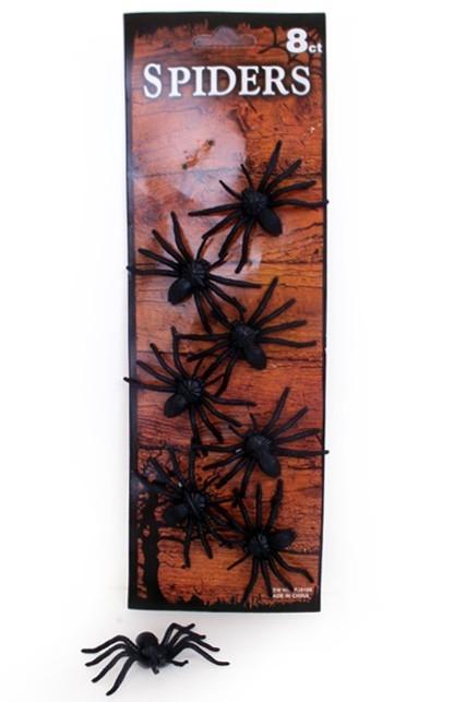 8st Zwarte Spinnen op Kaart 4x6cm
