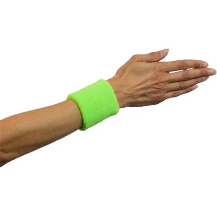 Zweetbandjes Fluor/Neon Groen 2stuks