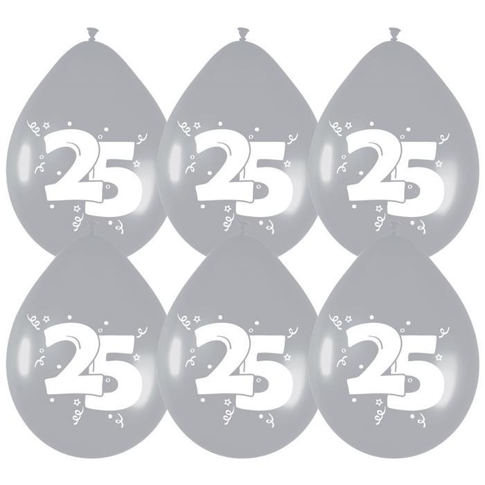 """6st Ballonnen 25 Jaar Zilver 12"""""""