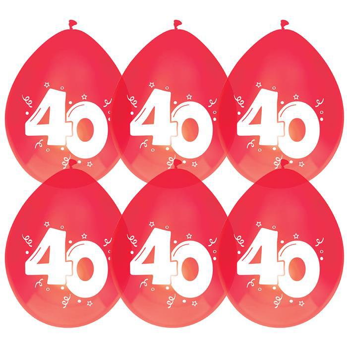 """6st Ballonnen 40 Jaar Rood/Robijn 12"""""""