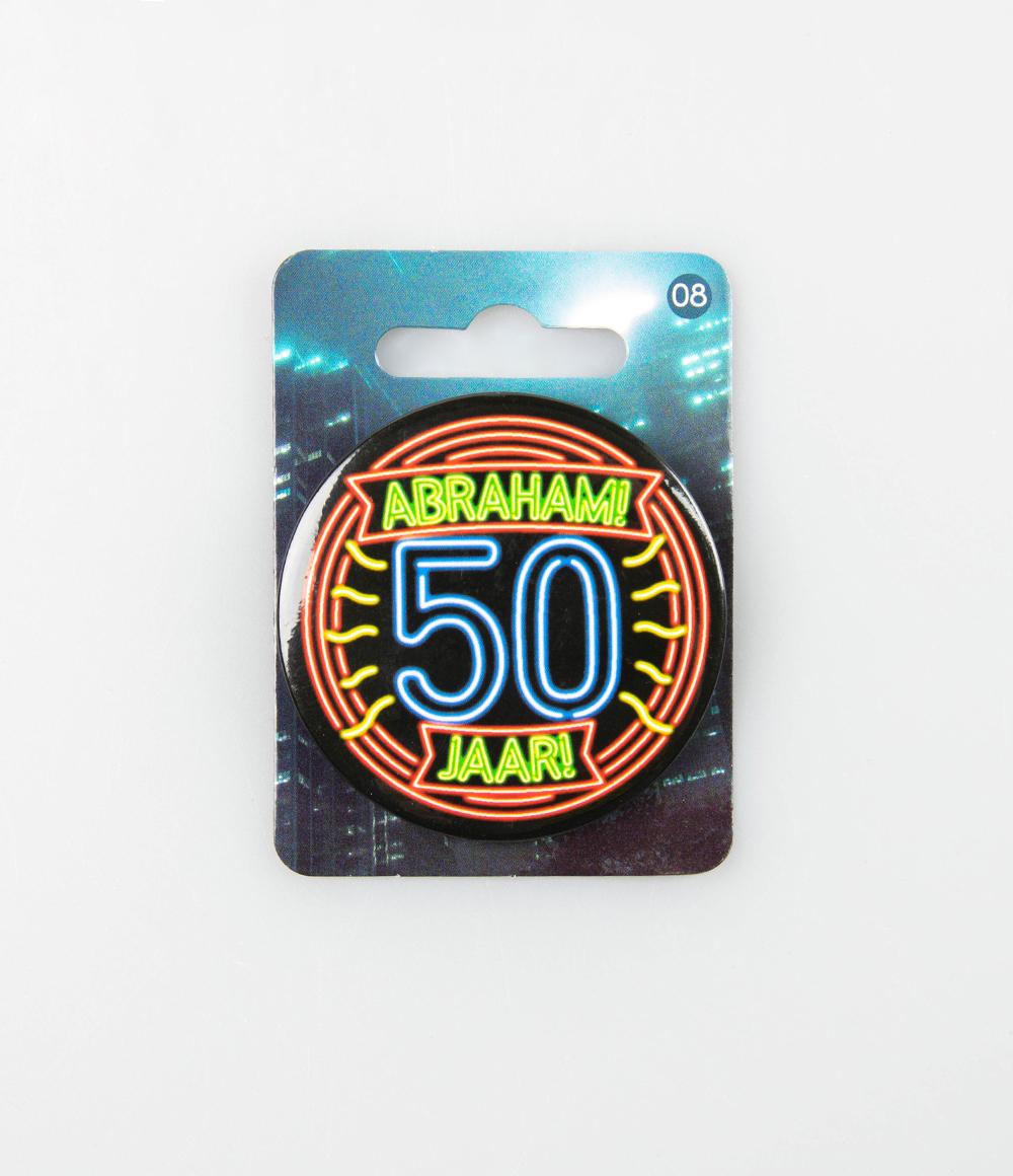 Button Neon Abraham 50 Jaar 5.5cm