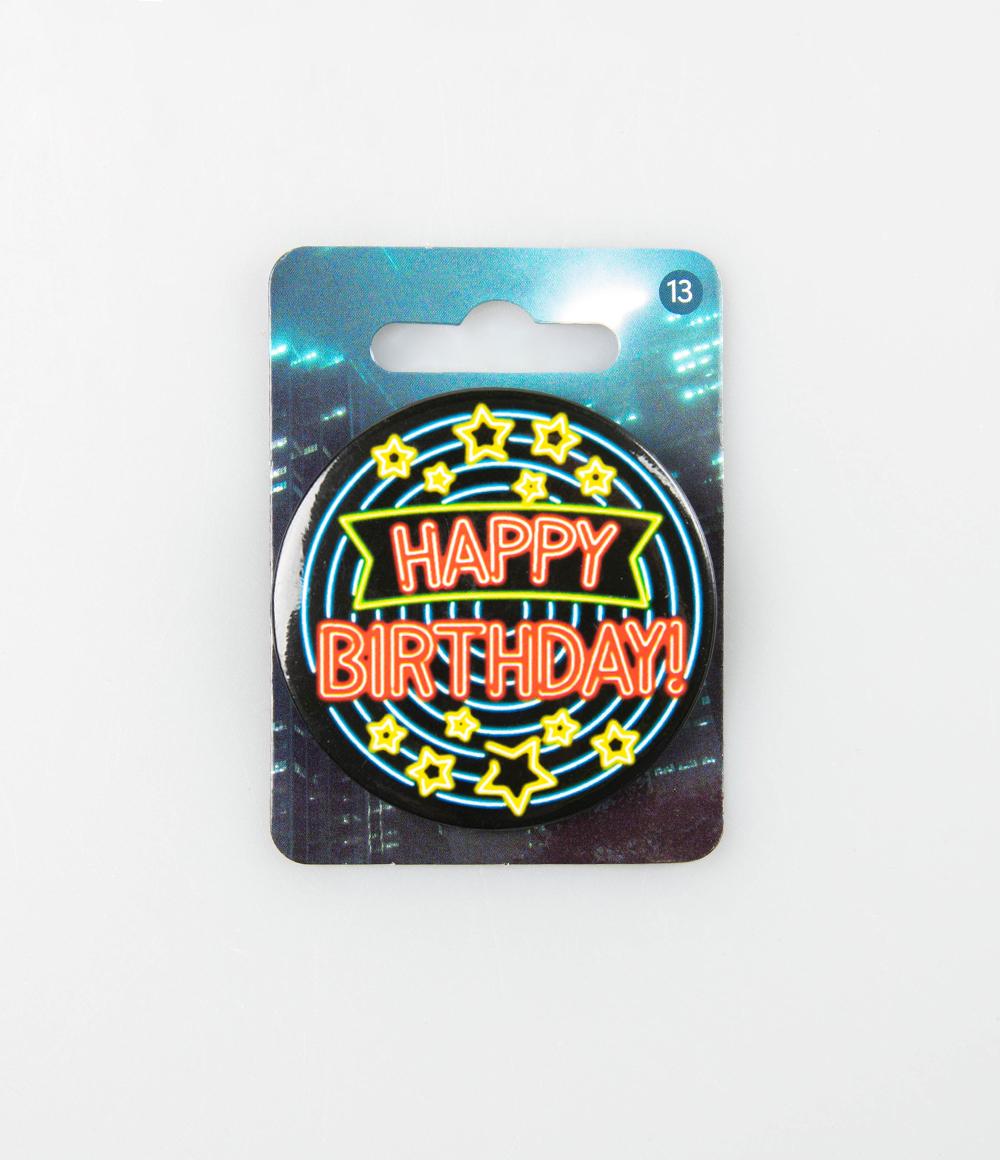 Button Neon Happy Birthday 5.5cm