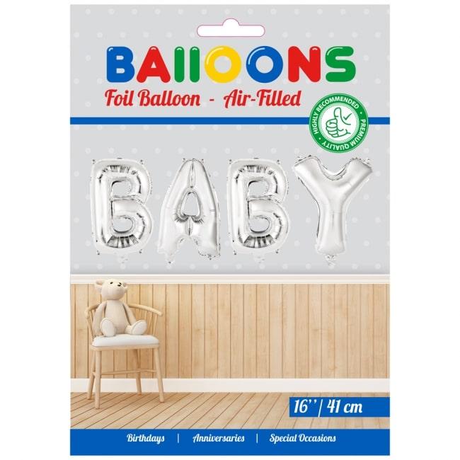 Folieballon BABY Zilver voor LUCHT 41cm