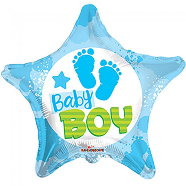 Folieballon Baby Boy Ster Blauw 46cm