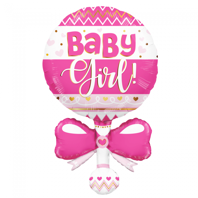 Folieballon Baby Girl Rammelaar Roze 91cm